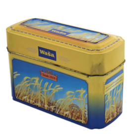 Vintage tin box for Wasa Crackers with images of ripe grain