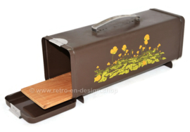 Vintage Brabantia gingerbread tin in brown with decor of yellow buttercups