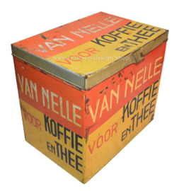 Large rectangular Van Nelle storage tin for coffee and tea in yellow, red and black