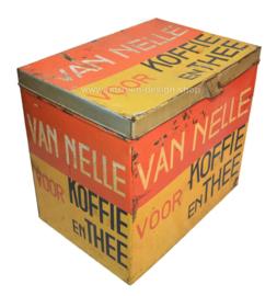 Groot rechthoekig winkelblik van Van Nelle voor koffie en thee in geel-rood-zwart