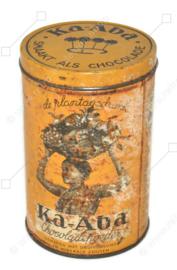 """Boîte de cacao en étain vintage pour boisson de plantation """"Ka-Aba"""" de 1 livre """"goûte comme le chocolat"""" par N.V. Koffie Hag, Amsterdam"""