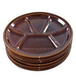 Vintage set of brown glazed earthenware fondue plates