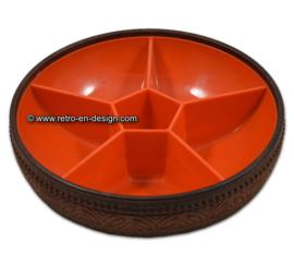 Bol en plastique orange vintage EMSA avec motif bois à l'extérieur