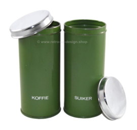 Brabantia set of reseda green storage canisters for coffee and sugar