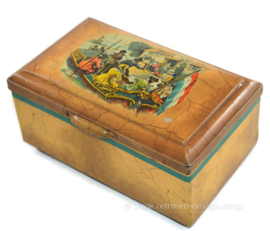 Vintage tin by Douwe Egberts for Pickwick tea with boat docking at a coffee and tea house