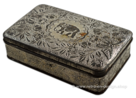 Rectangular biscuit tin by Hille with the logo of an elephant, butterflies and flowers