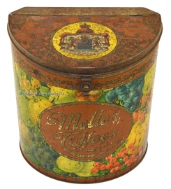 Halfround cylindric tin. Van Melle's Toffees. Vintage tin with folding lid. Tin is decorated with images of fruit