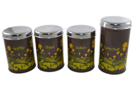 Vintage Brabantia Tin containers for tea, coffee, sugar, rusk and hot plate in brown with buttercups flower decoration