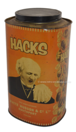 Large rare vintage HACKS tin in the color orange
