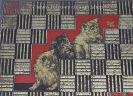 Square silver coloured vintage tin with cat decoration made by Jamin
