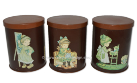"Vintage set of three round tins by ""Sarah Kay"""