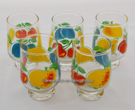 Set of 5 vintage '70s juice glasses with fruit pattern