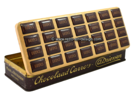 Vintage elongated tin box for Chocolaad Carro's by DRIESSEN