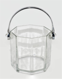Vintage Klarglas Eiskübel für Eiswürfel von Arcoroc France, Octime-Clear