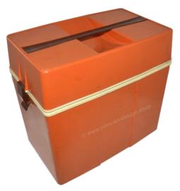 Vintage Kunststoff Kühlbox aus den 70er Jahren in Orange-Braun und Weiß