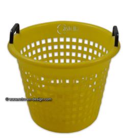 Panier de pincement de blanchisserie en plastique jaune Vintage de Castella