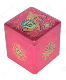 Cube vintage en étain pour thé par Van Nelle avec une image d'un lion oriental