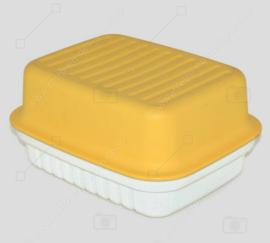 Vintage Tupperware kaasdoos Kornuit in geel en wit