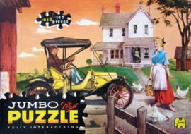 Vintage Jigsaw Puzzlel, Jumbo 1052 Yellow oldtimer in front of old house (1964-1967) 160 pieces