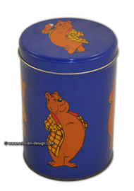 Blue round tin can with decoration of Ollie B. Bommel by Marten Toonder