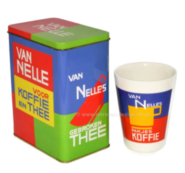 Van Nelle coffee and tea tin with earthenware cup