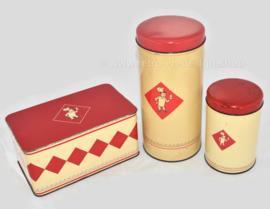 Vintage Set von drei Bolletje Dosen. Zwiebackdose, Zwiebackdose und Keksdose