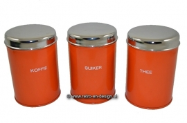 Set of three orange canisters by Brabantia: koffie, thee, suiker