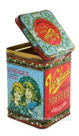 "Vintage tin box ""Fijnst gesorteerde toffees"" made by Verkade with candy eating girls"