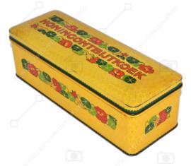 """Boîte rectangulaire avec couvercle à charnière produite par Verkade pour """"Honingontbijtkoek"""", jaune foncé et multicolore"""
