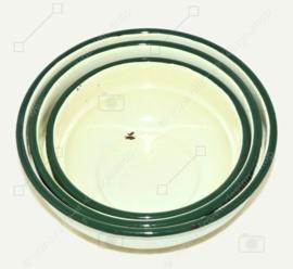Brocante set of three enamel bowls with green border