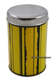 Geel/zwart gestreept vintage Tomado blik