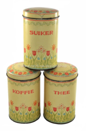Set of three vintage Dutch tins for coffee, tea and sugar