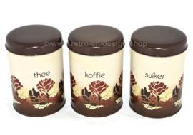 Ensemble vintage de boîtes de conserve Brabantia pour café, thé et sucre