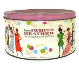 Lata grande de dulces de principios de los 60 o lata de almacenamiento para los chocolates y toffees Pascall White Heather