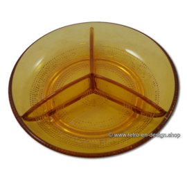 Vintage divided serving dish made in amber-colored glass