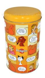 Blik voor brokken hondenvoer van Pedigree met afbeeldingen Jan Jans en de kinderen (Oranje)