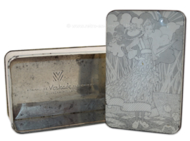 Vintage Verkade koekblik of koektrommel met afbeelding van boerenmeisje op klompen
