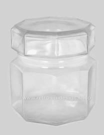 Tarro pequeño vintage de vidrio transparente con tapa de Arcoroc France, Octime-Clear