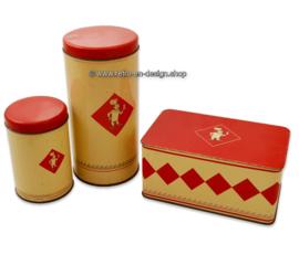 Set van drie vintage crémekleurige blikken met rood deksel voor Bolletje