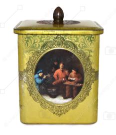 Lata cuadrada con pomo dorado con imagen de cuadros de maestros holandeses