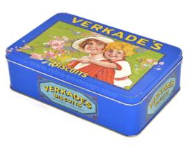 Lata vintage de Verkade con madre e hijo en diseño nostálgico
