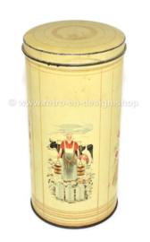 Lata redonda de bizcocho tostado blanco con representaciones dibujadas de ingredientes de bizcocho tostado de HILLE