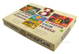 Boîte contenant trois puzzles de Jumbo vintage