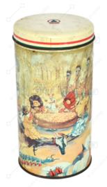 Boîte à biscuits cylindrique vintage réalisée par De SPAR avec des personnages de contes de fées