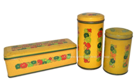 Set of three vintage tins by Verkade with Indian Cress
