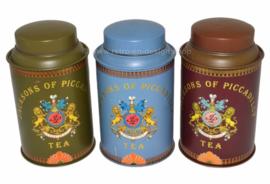Set van drie blikken bussen voor thee van Jacksons of Piccadilly