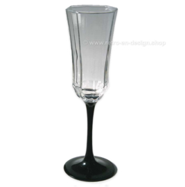 Vintage Arcoroc Luminarc France Octime Champagne glass on black stem