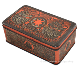 Boite à tabac orange / or embossée de navires pour tabac étoile de Niemeijer