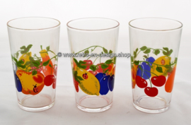 Three vintage 70s juice glasses with fruit pattern