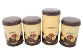 Vintage Dutch set of tins by Brabantia for coffee, tea, sugar and rusk